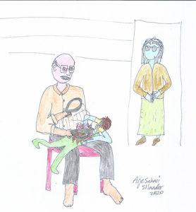אבא מכה עם החגורה שלו ואמא מסתכלת