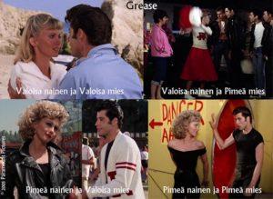 Valoisat ja pimeät arkityypit esitettynä Grease elokuvassa.